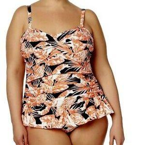 Tropical Escape  Ruched Swim Dress Bathingsuit NEW
